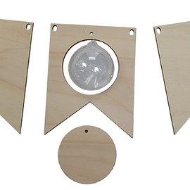 Holzen Flagge mit transparente Kugel 5 cm