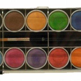 Aquarel/Wasserfarben - 12 Farben + Pinsel