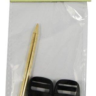 2 Plastikschließen und Nadel