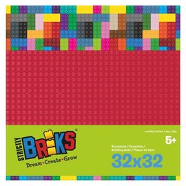 Strictly BRIKS Strictly BRIKS LBP32DR Bouwplaat 32x32 Donkerrood