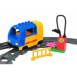 Huimei Electrische trein blauw met wagon en rails