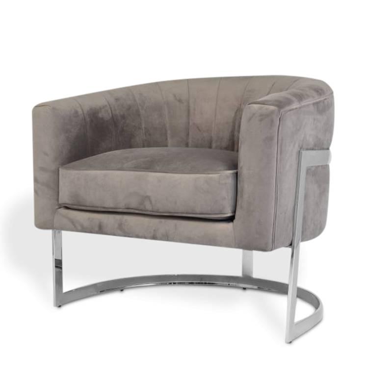 The Grand Roberto Arm Chair Grey Velvet