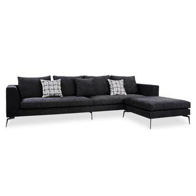 The Grand DONATELLA Corner Sofa Black Velvet Large
