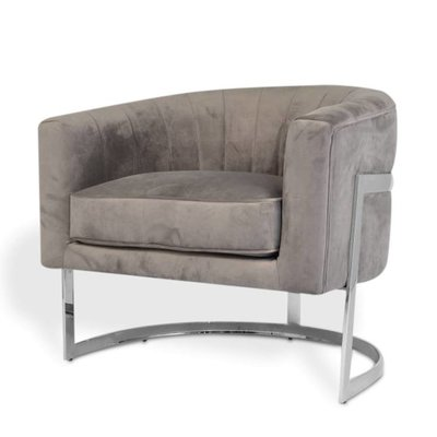 The Grand ROBERTO Arm Chair Mid Grey Velvet