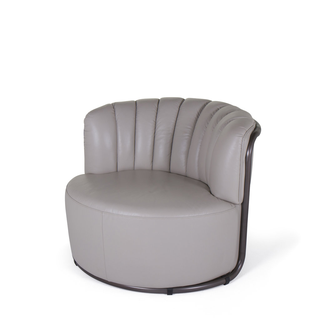 The Grand MONTI Arm Chair Cappuccino White Leather
