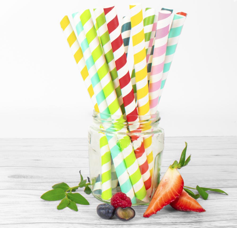 Colored paper straws for bubble tea