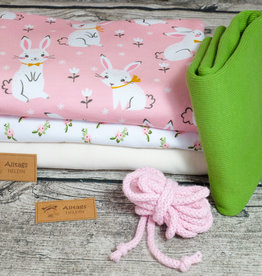 swafing Stoffpaket Jersey Hase  cute bunny rosa grün