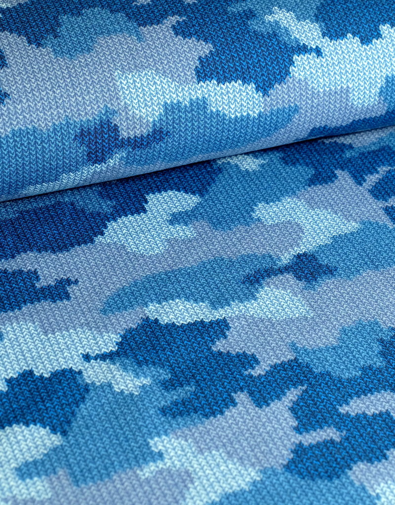 Stoff Eule Sweat French Terry Mandy Camouflage blau