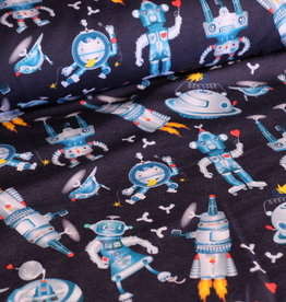 Stoff Eule Sommer Sweat Lauri Astronaut Roboter royal blau