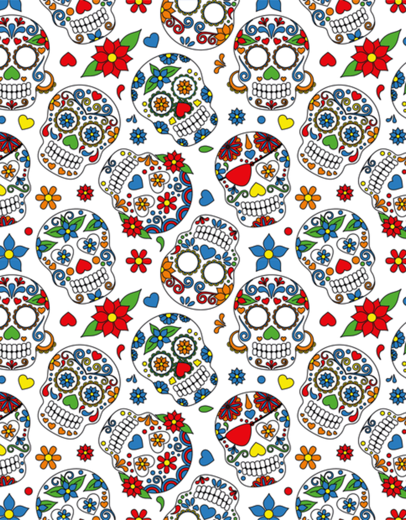 Stoff Eule Jersey Rose mexican skulls weiß