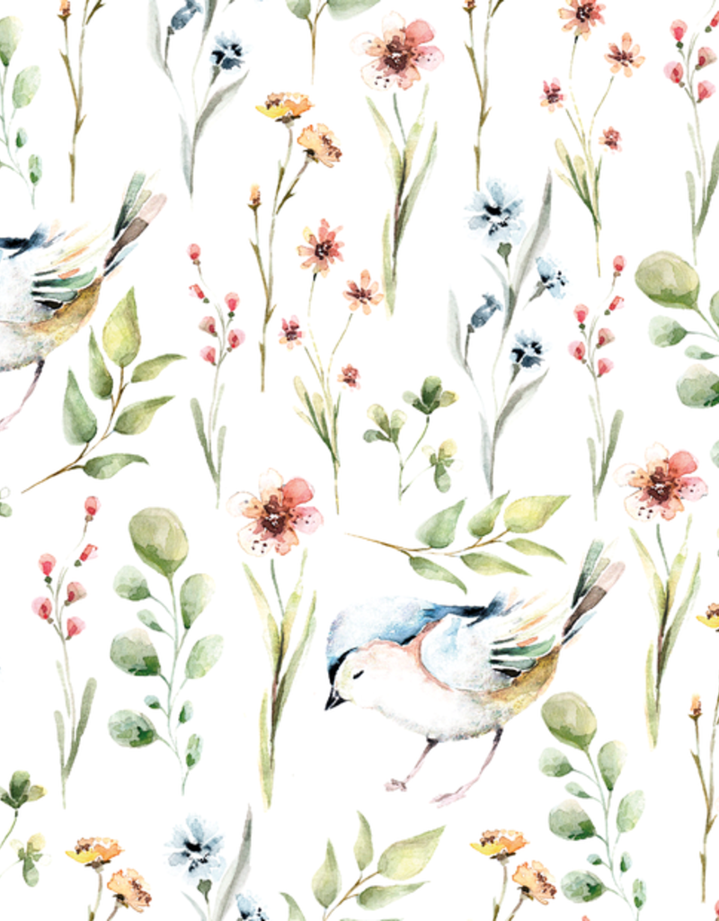 Stoff Eule Jersey Rose birds and twigs weiß