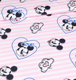 Stoff Eule Jersey love Mickey Mouse Streifen rosa weiß