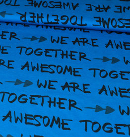 """Stoff Eule Jersey """"We are awesome together"""" Schriftzug blau"""