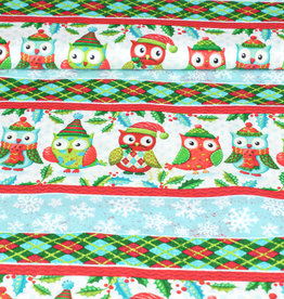 "Art Gallery Baumwolle Patchwork AGF ""Susi the christmas owl"" coole Lines rot weiß"