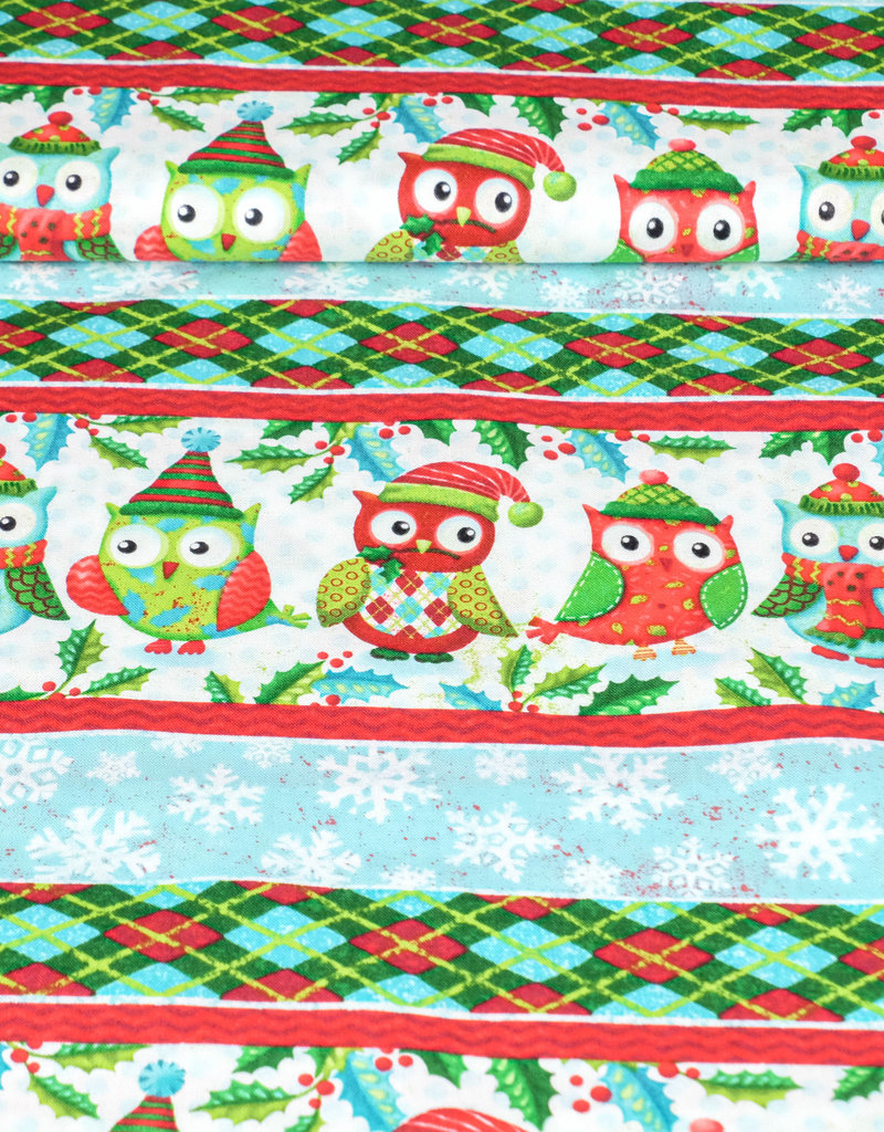 """Art Gallery Baumwolle Patchwork AGF """"Susi the christmas owl"""" coole Lines rot weiß"""