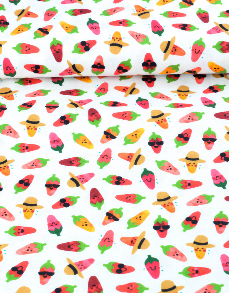 Stoff Eule Baumwolle Patchwork cooles Sommer Obst weiß