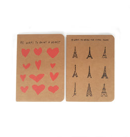 "Notebook set of 2 ""Eiffel Tower"" & ""Hearts"" A6"