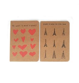 "Notebook set of 2 ""Eiffel Tower"" & ""Hearts"" A6"