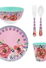 Ginger Cheerful flower melamine set - 5 delig