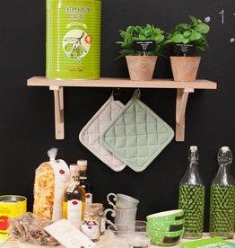 Linen & More Pannenlap en ovenwant - zacht groen- set van 4