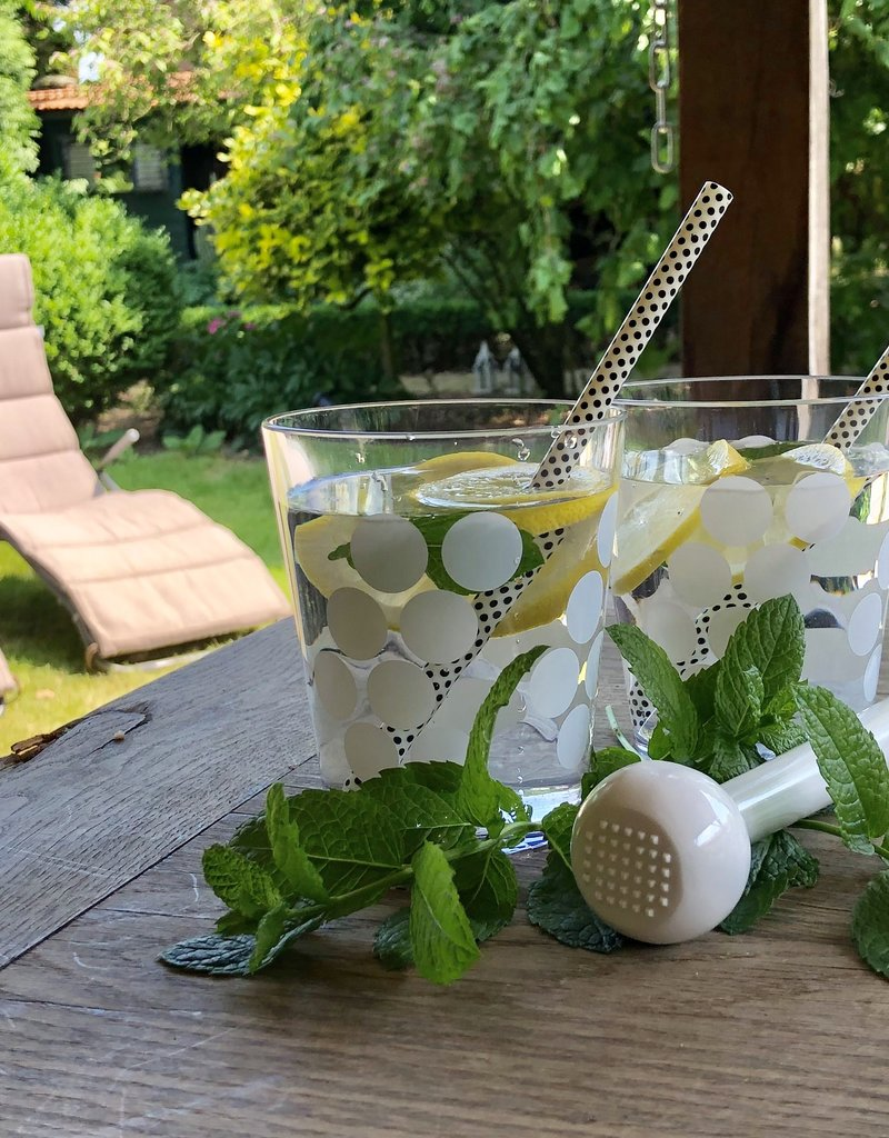 Zak! Designs Dot dot set van 2 water/cocktail bekers- wit
