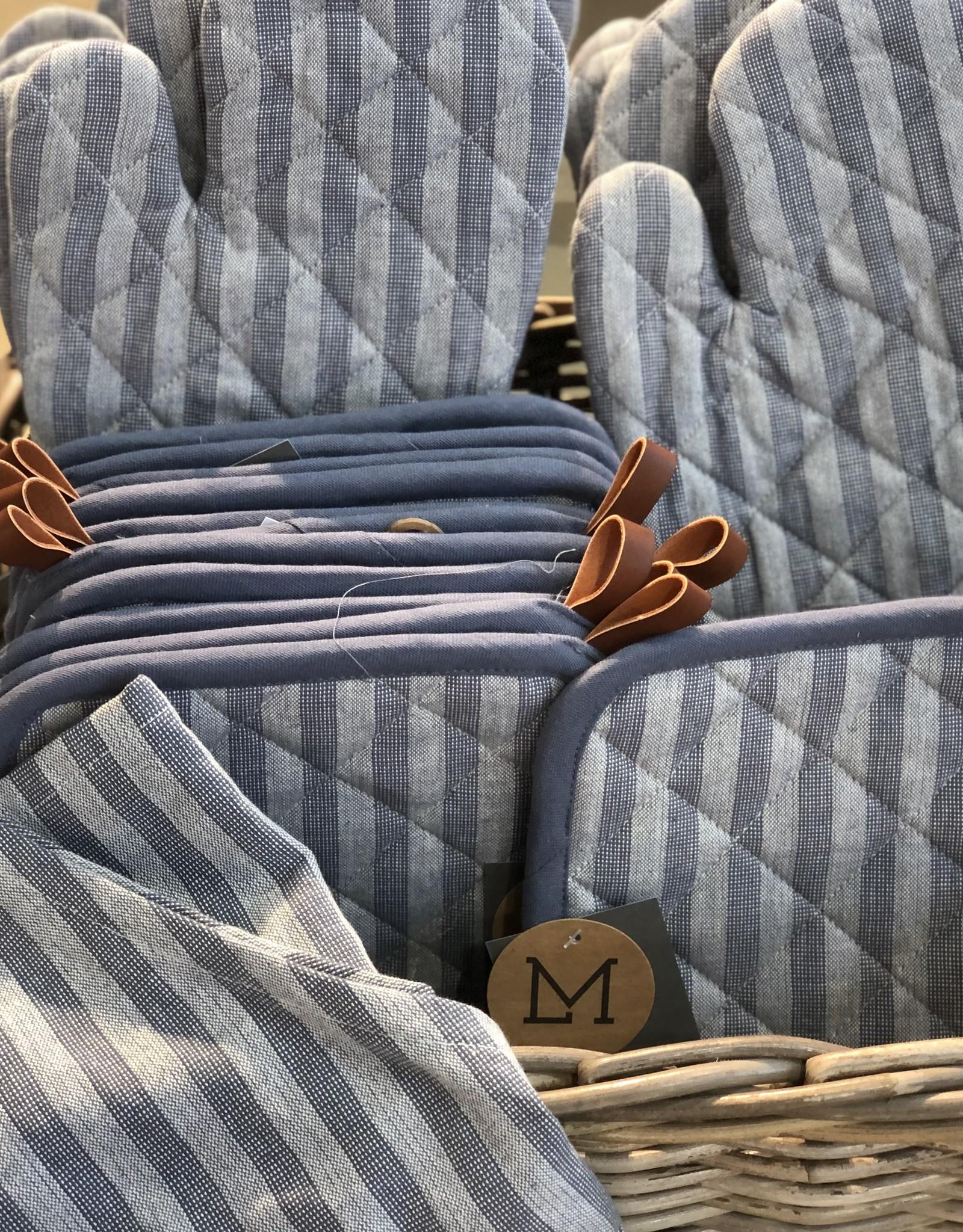 Linen & More Keukenschort set van 5 indigo blue