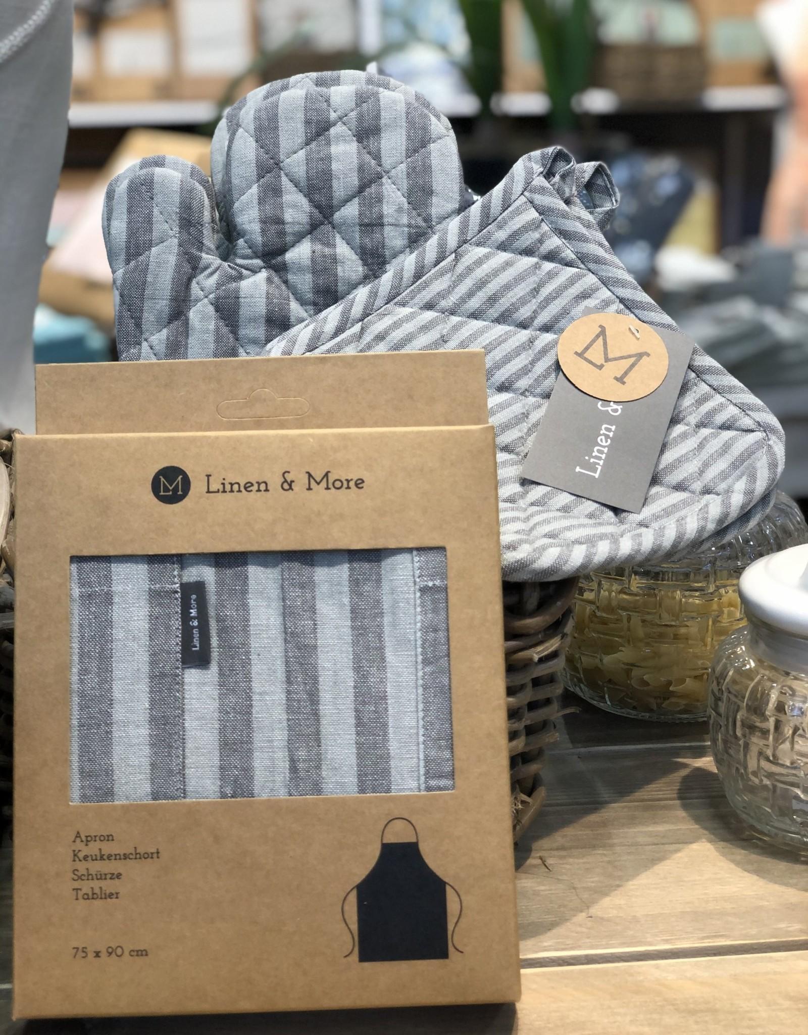 Linen & More Keukenschort set van 5 grey