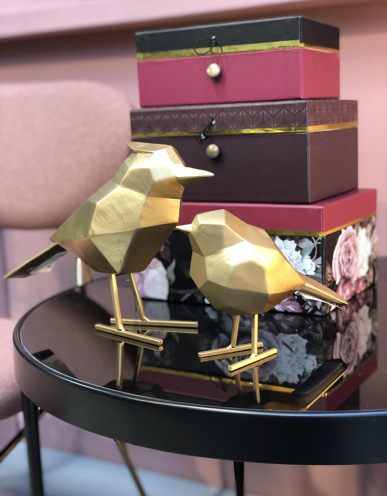 Present time Vogel origami set van 2  goud