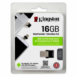 Kingston Kingston Technology DataTraveler 16GB microDuo 3.0 USB flash drive 3.0 (3.1 Gen 1) USB-Type-A-aansluiting Zwart