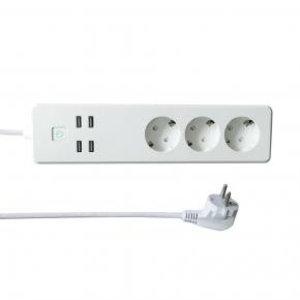 WOOX R4028 Smart Multi-plug/ slimme stekkerdoos [3x Schuko, 4x USB, Powered by TUYA, White]