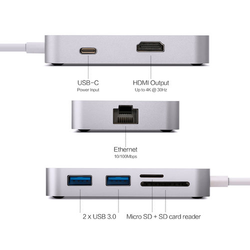 MINIX Neo CX, USB-C multipoort-adapter [10 / 100Mbps Ethernet]-Zilver
