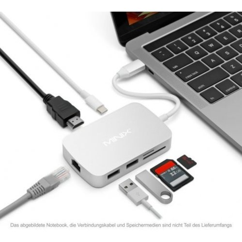 MINIX Neo CX, USB-C multipoort-adapter [10 / 100Mbps Ethernet]-Zilver