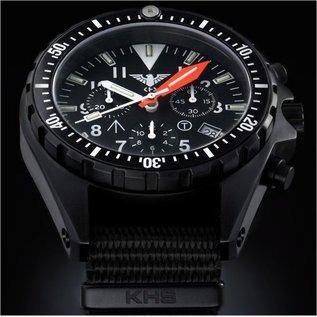 KHS Tactical Watches Missiontimer 3 Ocean Chronograph mit Lederband + G-Pad  | KHS.MTAOC.R