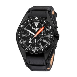 KHS Tactical Watches Missiontimer 3 Operation Timer Chronograph | Leather strap with G-pad | KHS.MTAOC.R