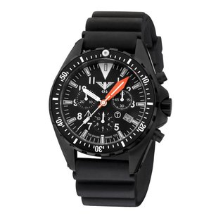 KHS Tactical Watches Missiontimer 3  Ocean Blue H3 Chronograph with black diver silikon strap    KHS.MTAOC.DB