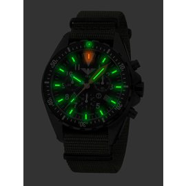 KHS Tactical Watches Missiontimer 3  Field H3 Chronograph | Natoband Black