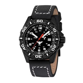 KHS Tactical Watches KHS Reaper mit Büffellederband Black | RED HALO H3 Leuchtsystem