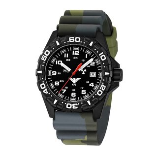 KHS Tactical Watches Tactical Watches | Reaper diver band camouflage olive | RED HALO H3 lighting system