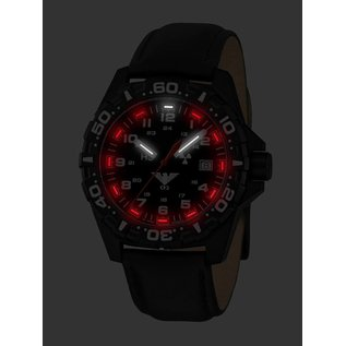 KHS Tactical Watches KHS Reaper mitschwarzen Lederarmband| RED HALO H3 Leuchtsystem