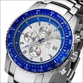 Firefox Watches  Fliegeruhr Chronograph Blatt silber/blau