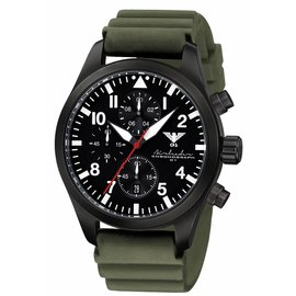 KHS Tactical Watches Black Airleader Chronograph Diverband grün