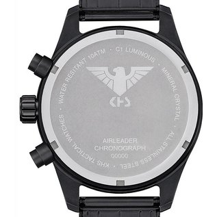 KHS Tactical Watches Airleader Black Steel Chronograph mit beigen Diver Armband.