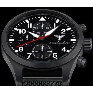 KHS Tactical Watches Airleader Black Steel Chronograph mit grünen Nato Armband