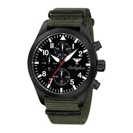 KHS Tactical Watches Black Airleader Chronograph, Nato Band Oliv