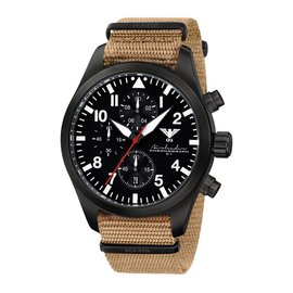 KHS Tactical Watches Black Airleader Chronograph, Nato Band Tan