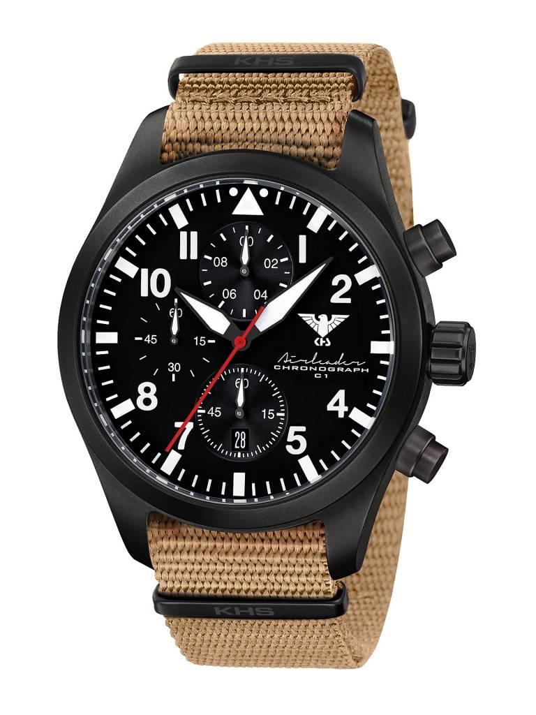 Armband Beige Black Airleader Chronograph Khs Steel Nato Mit b76gvYfy