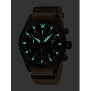 KHS Tactical Watches KHS Black Airleader Chronograph with tan nato band  - Copy