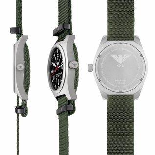 KHS Tactical Watches  Inceptor Steel Herrenuhr mit grünen Nato Armband KHS.INCS.NO