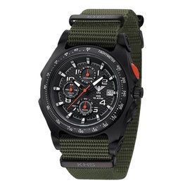 KHS Tactical Watches Sentinel AC Chronograph Black | Nato Armband Olive