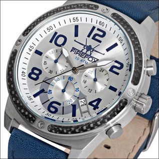 Firefox Watches  High-grade steel FIREFOX SKYDIVER chronograph silver / blue
